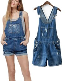 Wholesale Casual Washed Womens Overalls - Fashion Womens Jumpsuit Denim Overalls Summer Jumpsuits Rompers Casual Strap Hole Ripped Pockets Shorts Jeans Coverall