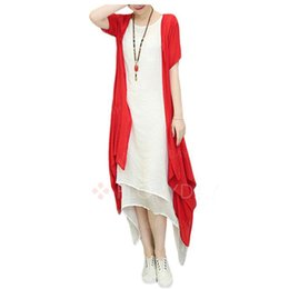 Wholesale Dresses Shift Cotton - 2017 Summer Two Piece Casual Day Dress Women Ladies Dresses O-Neck Half Sleeve Fashion Female Clothing Solid Red Green Grey Shift Comfort