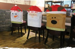 Wholesale Dining Rooms Chairs - 3Pcs  Lot Lovely Christmas Chair Covers Santa Claus Snowman Christmas Decoration Dining Room Chair Cover Home Party Decor