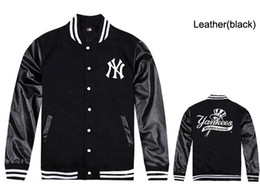 Wholesale Mens Leather Sleeves - Free shipping NY yankees leather jackets for men hip hop baseball sweatshirts mens coats fleece male rock hiphop clothes