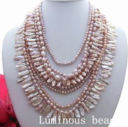 "Wholesale Pearl 24mm - KE070801 18"" 9Strands 24MM Biwa Pearl Necklace"