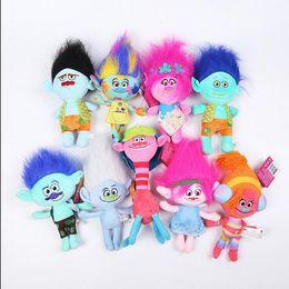 Wholesale Children Working - 23-32cm Movie Trolls Plush Toy Poppy Branch Dream Works Soft Stuffed Cartoon Dolls The Good Luck Trolls Gift for Child