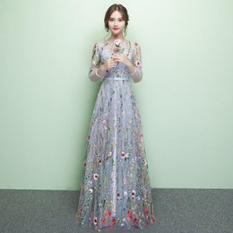 Wholesale Transparent Sexy Models - Evening Dress 2017 SSYFashion New Long Sleeved Transparent Organza Embroidered Flowers Sweet Prom Dress Custom Party Formal Gown