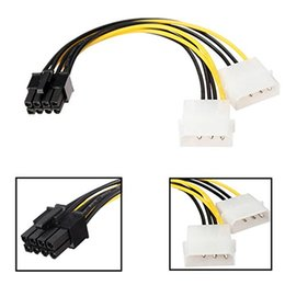Wholesale pci express cable adapter - 5 inch 16cm 8 Pin PCI Express Male To Dual LP4 4Pin Molex IDE Power Cable Adapter
