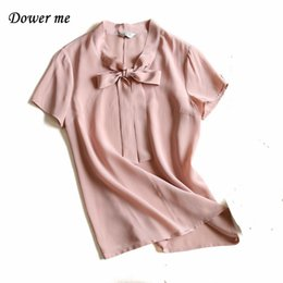 Wholesale White Silk Material - New Listing Mulberry Silk Material V-Neck Casual Fashion Ladies Short Sleeve White Blouses Loose Bow Ornament Women Shirts YN013