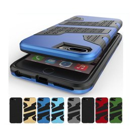 Wholesale Iphone Dual Mesh Case - Rugged Mesh Armor Case For iPhone 7 Plus 6 6S 5 5S SE Hard PC & Soft TPU Net Grid Hybrid Dual Layer Shockproof Phone Cover