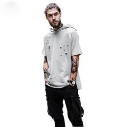 Wholesale Oversized Xxl - 2017 Oversized men's T-shirt hot sale have Hat hip hop style fashion Ripped swag short sleeve Retro homme XXL T shirt XK