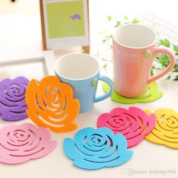 Wholesale Pets Recycling - Rose Shape Coaster Anti Skid Non Slip Hollow Out Design Cup Mat Non Woven Multi Colors Modern Coasters For Home 0 3hy R
