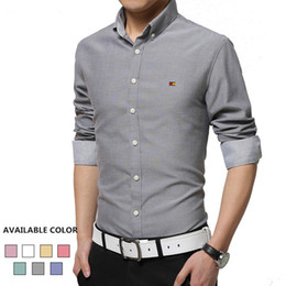 Wholesale Wholesale Shirt Fabric - Wholesale- HORIS Brand-Clothing Long Sleeve Men's Shirts Oxford Fabric Non-ironing Male Social Shirt Slim Fit Mens Dress Shirts H292