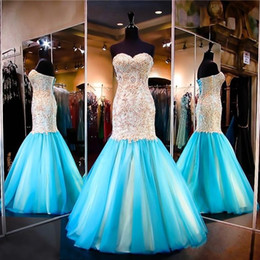 Wholesale Ocean Blue Gowns - 2017 Ocean Blue Gold Mermaid Prom Dresses Lace Appliques Sweetheart Neckline Lace-up Backless Colorful Evening Dress Pageant Gowns