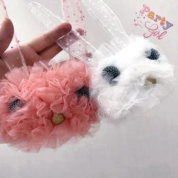 Wholesale Korean Big Bow Headband - Korean Princess Headbands Girls Hair Accessories Big Ears Cute Rabbit Lace Sweet Children Hair Hoop Bows Bunny Girl Party Sticks A7028