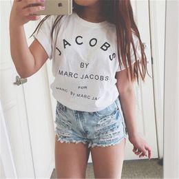 venta al por mayor de la muchacha de la cabeza Rebajas Al por mayor-Nueva marca de moda JACOBS Mujeres Camisetas Casual Algodón de manga corta Tops Camisetas camisetas Letras de impresión Camisetas Mujer
