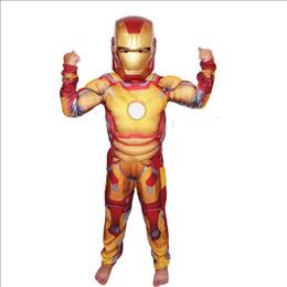 Wholesale Boys Super Hero Costumes - New htot halloween party cosplay clothes Birthday Boys children's Iron Man muscle Costume Ironman superhero movie costumes Christmas Gi