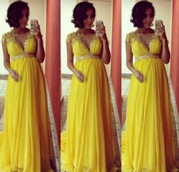 Wholesale Dress For Pregnant Women Summer - Robe De Soiree 2017 Nouveaute Elegant Evening Dresses for Pregnant Women Cap Sleeve lace chiffon Yellow Prom occasion Dresses