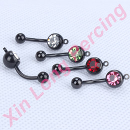 Wholesale Belly Ring Add - 316L Stainess Steel vertical hoop add your own charm belly ring body piercing jewelry Anodized Black Navel ring 40pcs lot