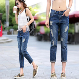 Wholesale Recycle Polyester - Free shipping Casual was thin nine points Harlan wide leg pants hole jeans women loose large yards JW063 Women's Jeans