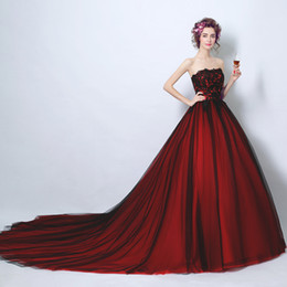 Wholesale Red Dinner Wedding Dress - Wine red lace strapless princess bride wedding dress for dinner toast long tail wedding exclusive ceremonial cocktail dress
