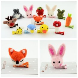 Wholesale Barrette Hair Pins - Cartoon Baby Hair Accessories Fox Rabbit Totoro Felted Animals Fruit Girls hair pins Cute Children Barrette Kids Princess Hair Clips C1583