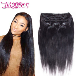Wholesale Weave Clips Wholesale - Brazilian Virgin Human Hair Clip In Hair Extensions Queen Straight Weaves Unprocessed 12-28 Inches Natural Black