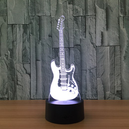 Wholesale Electric Guitar Led - 3D Electric Guitar Illusion Night Lamp 7 RGB Colorful Lights USB Powered with AA Battery Bin Touch Button Wholesale Dropshipping