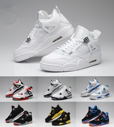 Wholesale New Sky Box - With Box New Retro 4 Basketball Shoes Men 4s Pure Money Royalty White Cement Bred Military Blue Basketball Sports Sneakers Free Shipping