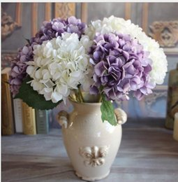 Wholesale Wholesale Artificial Hydrangeas For Wedding - Artificial Hydrangea Flower Head 46cm Fake Silk Single Real Touch Hydrangeas 7 Colors for Wedding Centerpieces Home Party Decorative Flowers