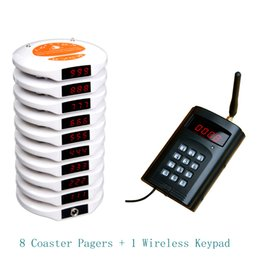 Wholesale Guest Calling System - wireless coaster pagers,guest wireless calling pager system,take food pager,8 coaster pagers + 1 wireless keypad +1 charger base