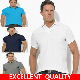 Wholesale Blue Logo Sweater - Summer men Small Horse Embroidery LOGO polo sweaters Simple style cotton knitted short male pullovers top tees breathable Men's clothing