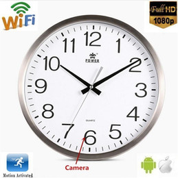 Wholesale Remote Spy Camera Monitor - Wifi Wall Clock Spy Hidden Camera Full HD 1080P Round Clock IP Camera with Loop Recording wireless remote monitor Home security Nanny Cam