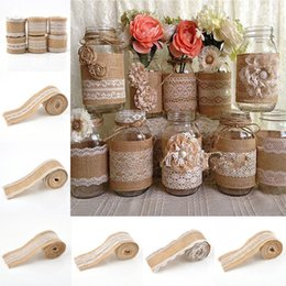 Wholesale Lace Ribbon Decorations - 2 m Natural Jute Burlap Hessian Lace Ribbon Roll with Lace Roll Trims Tape Rustic Wedding Decoration wedding cake topper Christmas Crafts