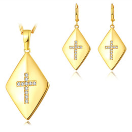 Wholesale Set Gold Plated Clear Crystal - Luxury Jewelry Set 8K Yellow Gold 925 Silver Plated AAA Clear CZ Cross Earrings Necklace Set for Girls Women for Party Wedding JNST1047
