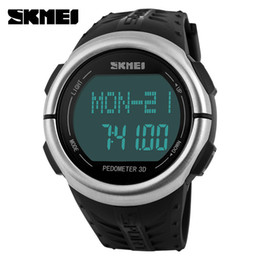 Wholesale Brand Monitoring - SKMEI Brand Watches men Heart Rate Monitor 3D Pedometer LED Digital Watch Man Waterproof Sport PU strap Quartz-watch
