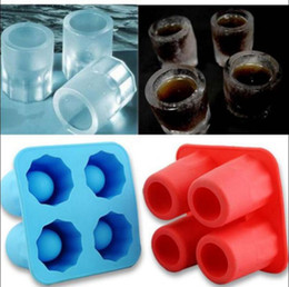 Wholesale Ice Wine Glasses - Cup Ice Cube Glass Freeze Mold Maker Tray Silicone Molds Wine Glasses Maker Cocktail Cups Ice Cube Beer Cold Keeper OOA3333