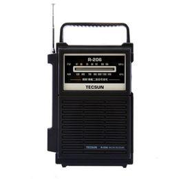 Wholesale Pocket Stereo Radio - Wholesale-TECSUN R-206 Full Brand AM FM MW SW1-6 Multy-band Clock Radio Receiver Digital Demodulation Stereo Radio Portable Pocket Size