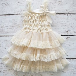 Wholesale Straight Wedding Gowns - Lace Baby Girls Dress Summer Style Sleeveless Shoulderless Fluffy 3 Layer Flower Princess Pageant Party White Wedding Baby Dress
