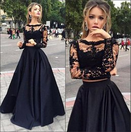 Wholesale Cheap Satin Shirts - 2017 Hot Black Lace Cheap Two Piece Prom Party Dresses With Long Sleeves A Line Sexy Crew Floor Length Evening Dresses Formal Gowns