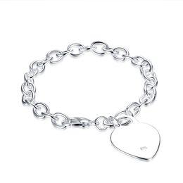 Wholesale Bracelet Summer - Hot Selling 925 Sterling Silver Heart Pendant Pendant Links Chain Bracelet Summer Bracelets Jewelry Best Gift