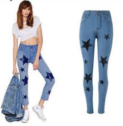Wholesale Wholesale Capris Jeans - Fashion Women Jeans Boyfriend Denim Pants Bleached Stars Print High Waist Pencil Pants Stretch Trousers Pantalon Femme