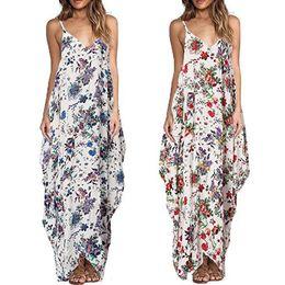 Wholesale Womens Dress Maxi Asymmetrical - Womens V-Neck Floral Casual Hippie Boho Bohemian Slip Pinafore Jumper Summer Flora Printed Spaghetti Strap Sleeveless Beach Long Maxi Dress