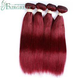 Wholesale 99j Human Hair Extensions - Fairgreat Burgundy Brazilian Virgin Hair Weave Bundles #99j Straight Human Hair Extensions Indian Malaysian Peruvian Remy Hair Bundles