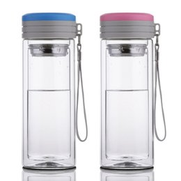 Wholesale Wholesale Steel Double Tea Cup - Double Glass Water Bottle Double-layer Coffee Tea Glass Water Bottle with Stainless Steel Filter 300ml ,It Can be Customize