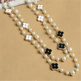 Wholesale Crystal Act - Pearl Clover Crystal Necklace Exaggerated Multilayer Deserve to Act the Role of Double Long Sweater Chain Necklace