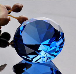 Wholesale Blue Diamond Decoration Wedding - Wholesale- Free Shipping 60mm Blue Big Crystal Glass Faceted Diamond Paper Weight For Gift Wedding Decoration, Valentine's Day gifts