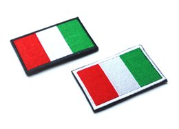 Wholesale Fabric Armbands - 30PCS Embroidered Italy Flag Patches Army Hook & Loop Patch 3D Tactical Patches Fabric Armband National Danish Flag Badge
