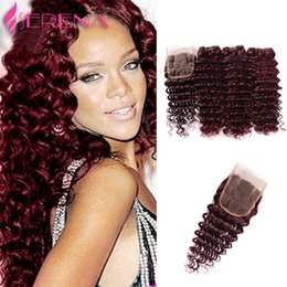 Wholesale Hair Weave Red Curly - Red Hair Extensions 99j Deep Curly Virgin 4pcs Brazilian Peruvian Malaysian Indian Wholesale Human Hair 7a Brazilian Hair Weave Bundles