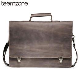 """Wholesale 14 Laptop Shoulder Bag - Wholesale- Trend Men's Crazy Horse Genuine Leather Vintage Zipper Single 14"""" Laptop Briefcase Messenger Shoulder Attache Tote Bag T8883"""