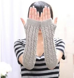 Wholesale Cute Cuffs - Korean version of the gloves knitted wool semi-long gloves autumn and winter women cute warmth that the twist cuff