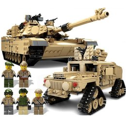 Wholesale Military Model Building - 1463pcs Brand Compatible Military Super Gun Weapon HUMMER Tank Model Building Blocks Assembling Bricks Toy for Kids Gift