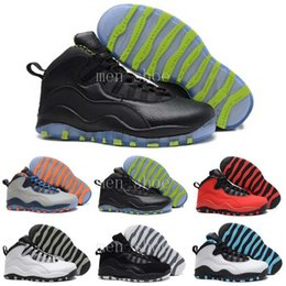 Wholesale Nylon Ice Pack - [With Box] Air retro 10 NYC charlotte Hornets blue City Pack CHI Chicago Flag Steel Grey powder Blue Seattle Ice Blue mans basketball shoes