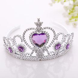 Wholesale Wholesale Plastics Tiaras - Snow and ice princess crown Children's crown princess headdress headband plastic hair hoop magic wand accessories crown wholesale Send free